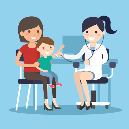 Doctor Examining listens to breathing statoscope Measure body temperature.kid who sits in on her mother's lap. Vector illustration Isolated on white background. 向量圖像