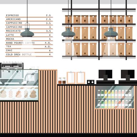 A vector illustration of interior of a modern Bakery shop 일러스트