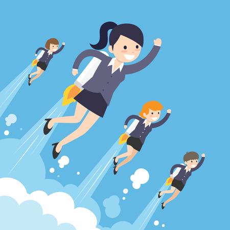 Startup Business. Business on a rocket. Flat design business concept illustration.