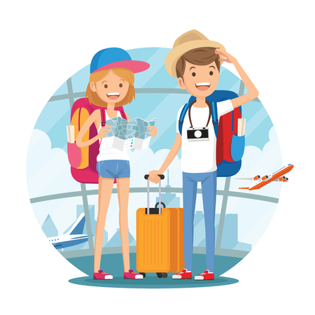 Traveling couple of young people. Man and woman with luggage are go in the airport building. Vector illustration in cartoon style Vectores