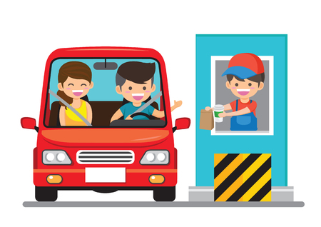 Stickman Illustration of a Family Getting Food at a Drive Thru Restaurant - Vector
