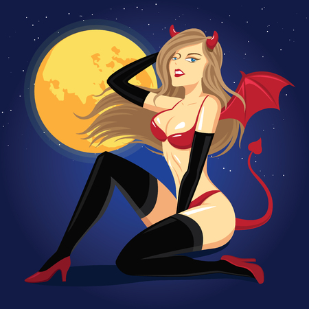 Sexy woman dressed in a devil's costume - Vector Illustration