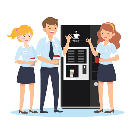 Coffee break, male and female characters in the office, flat style - Vector
