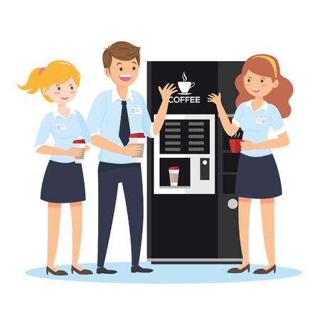 Kaffeepause, männliche und weibliche Charaktere im Büro, flacher Stil - Vector Vektorgrafik