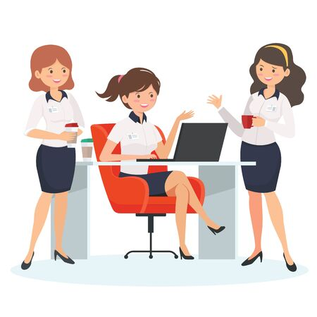Businesswomen drinking coffee and talking. Coffee time, break and relaxation concept. Modern design style. Иллюстрация