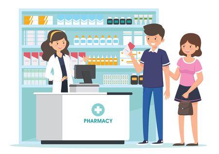 farmacia con farmacéutico en mostrador y personas comprando medicamentos. diseño de personajes de dibujos animados de farmacia