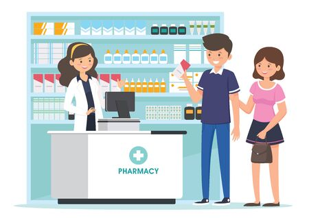 farmacia con farmacista al bancone e persone che acquistano medicinali. disegno del personaggio dei cartoni animati della farmacia