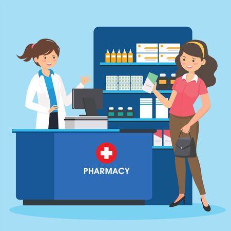 farmacia con farmacéutico en mostrador y personas comprando medicamentos. diseño de personajes de dibujos animados de farmacia Ilustración de vector