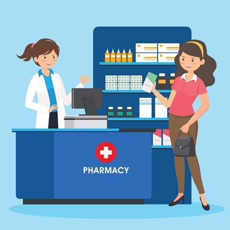pharmacy with pharmacist in counter and people buying medicine. drugstore cartoon character design Vektoros illusztráció