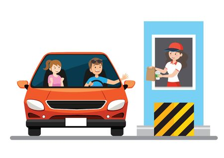 Stickman Illustration of a Family Getting Food at a Drive Thru Restaurant