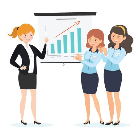 Business Woman giving a presentation of project.Office staff teamwork on conference. 일러스트