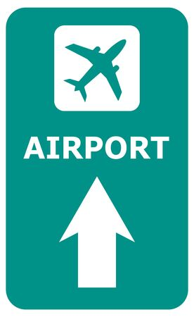Airport ahead guide road sign. Airplane icon with an arrow on a green background. Aviation symbol.