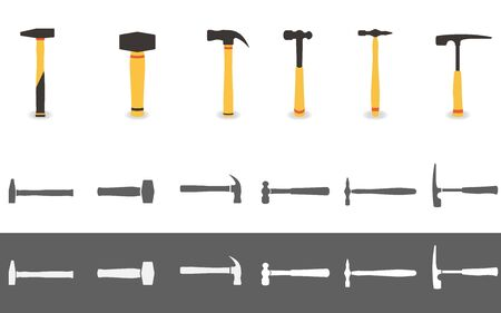 Set of six different hammers in flat style.