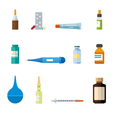 Various medication and healthcare icons.