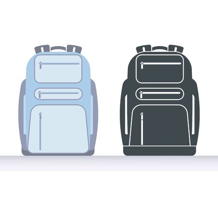 Ordinary backpack Illustration and icon.
