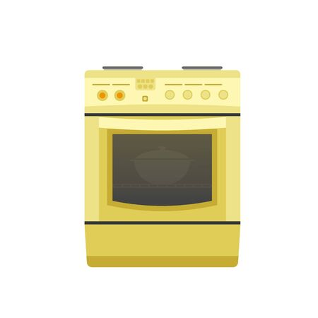 Kitchen stove with a pot inside an oven.