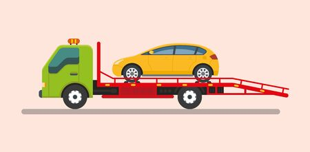 Tow truck service vehicle.Help on road illustration vector illustration.