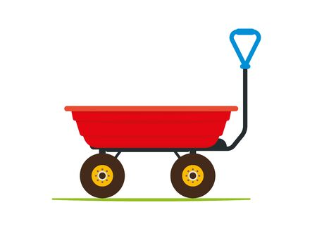 Garden tipping cart with durable plastic red tray. Waste, compost and soil collecting and transporting.