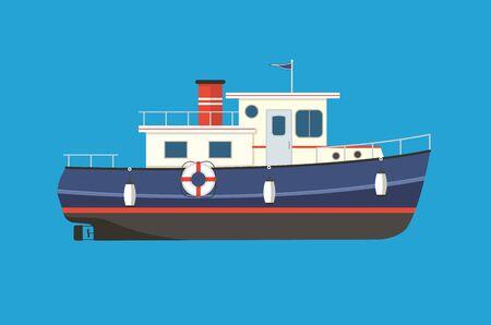 Vintage tugboat flat vector illustration. Motor boat for sailing, fishing, trawling, cruising.