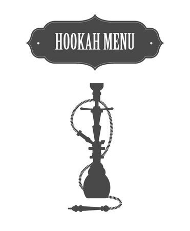 Hookah menu design concept.Icon with Arabian frame.
