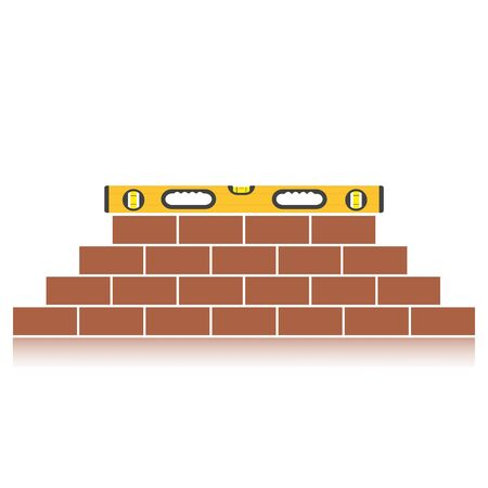 Bubble level laying on top of a brick wall. Construction leveling tool. Building a wall.Flat style vector illustration Illustration