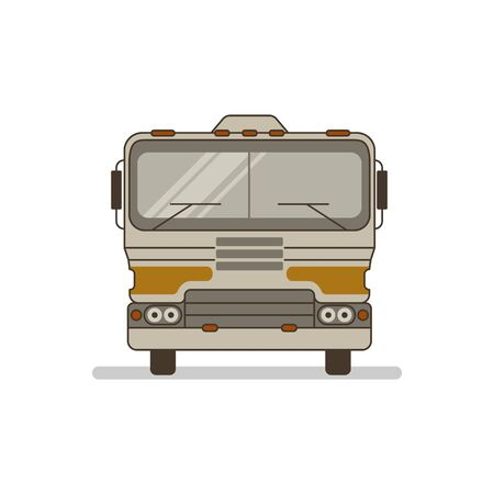 Illustration of a retro 1970's motor home camper van. Front view of camping trailer.