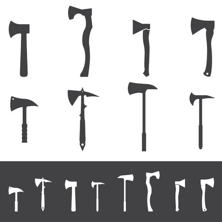 Set of various axe silhouettes. Collection of vector hatchet icons. Illustration