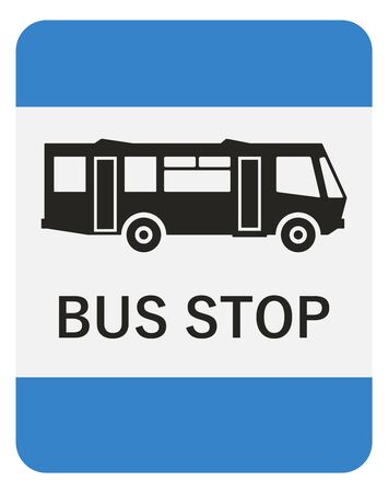 Bus stop road sign. Black simple icon on white background with blue canvas. Illustration