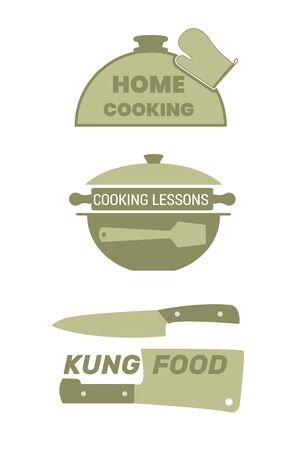 Cooking label set for home food. Cloche lid, a pot, a knife with a hatchet.