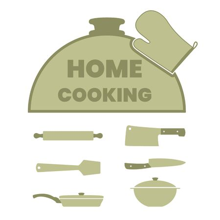 Cooking label set with kitchen utensils. Cloche dome for platter, rolling pin, knife, hatchet, frying pan, pot, wooden spatula. 向量圖像