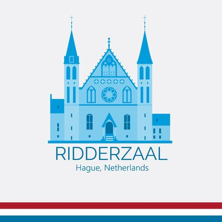 Ridderzaal in Hague exterior. Hall of Knights building. Netherlands tourist attraction. Stylized monochrome flat style vector illustration.