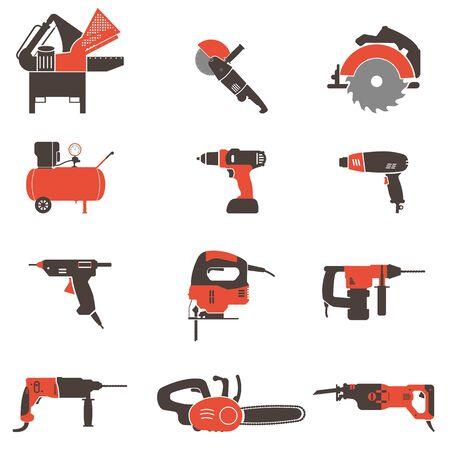 Set of twelve power tools.Drill, grinder, compressor, hammer drill, jigsaw, sawzall, heat gun, hot glue gun and circular saw. Flat vector illustration. Illustration