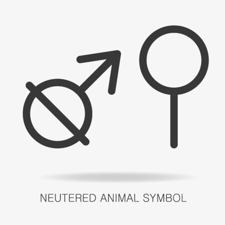 Neutered animal symbol in two variations. Castration and spaying icon. De-sexing or sterilization of pets. Ilustração