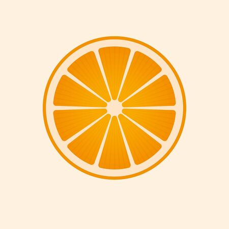 Vector orange slice isolated. Citrus symbol.