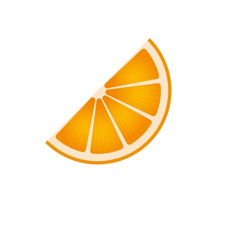Slice of an orange isolated on white. Citrus symbol for juices and decoration.