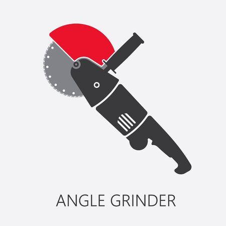 Vector angle grinder icon. Electric power tool with red guard attached symbolizing safety precautions. Illustration