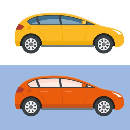 Common hatchback type car used in delivery, taxi or courier service.Flat style design.Yellow and red variations. Urban vehicle vector illustration.