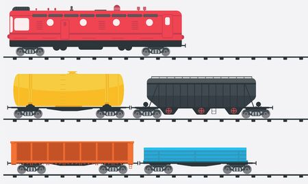 Freight train locomotive with three kinds of railcars. Railroad cargo transport. Railway carriage with goods wagons.