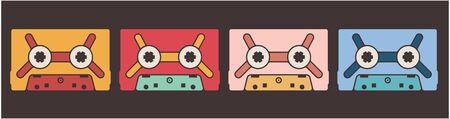 Colorful cassette tapes. Old school art concept.