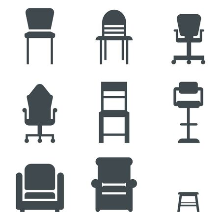 Set of various chairs and arm chairs. Widely known shapes. Gaming, office, kitchen, bar , wooden, soft, comfy types. Casters and glides legs. Front view.