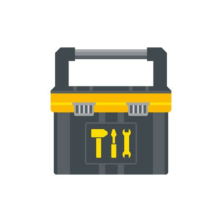 Tool box for instruments. Workman toolkit. Crate for hand tools. Workbox in flat style. Vector illustration
