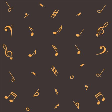 Music notes seamless pattern. Musical notation background. Dark chocolate background with golden melody symbols. Vector illustration. Ilustrace