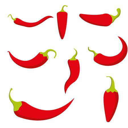 Chili pepper isolated on white. Hot red chile peppers set. Vegetable chilli paprika vector illustration. Heat spice Mexican food ingredient.