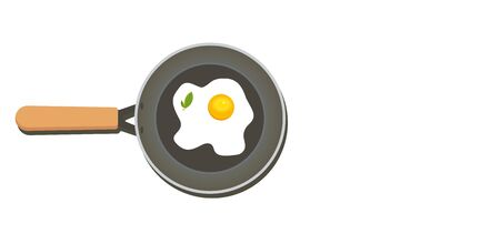 Fried egg on a frying pan. Breakfast meal vector illustration.