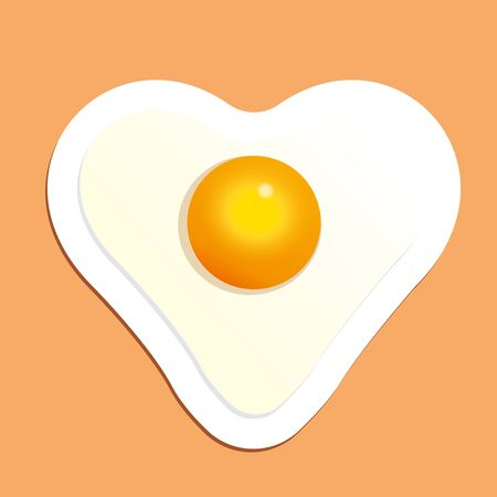 Fried egg in heart shape. Breakfast with love vector illustration.