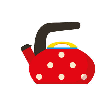 Red Kettle. Polka Dot Teapot vector illustration.