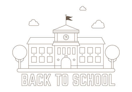 School outline stroke vector illustration with trees , clouds and Back to School text
