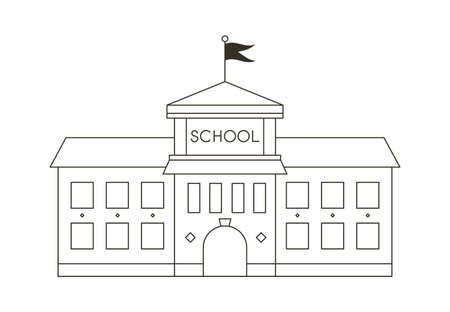 School outline stroke vector illustration. Line art education building. 일러스트