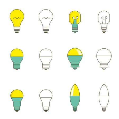 Light bulbs set. Vector lightbulbs illustration isolated on white