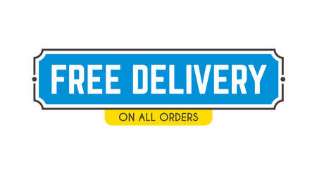 Free delivery shipping web banner, delivery sticker, promotion badge for online shop or store. Illustration